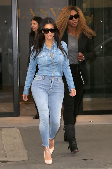 Kim Kardashian 45 Serena Williams sortant du bureau Lanvin a Paris le 30 Avril 2014