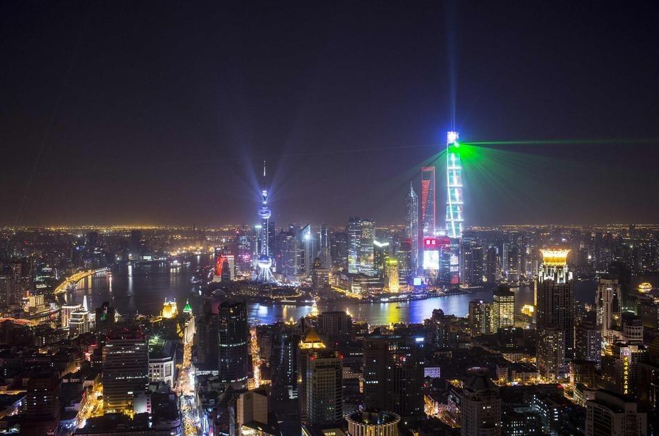 Spectacle de Lasers a Shanghai en Chine