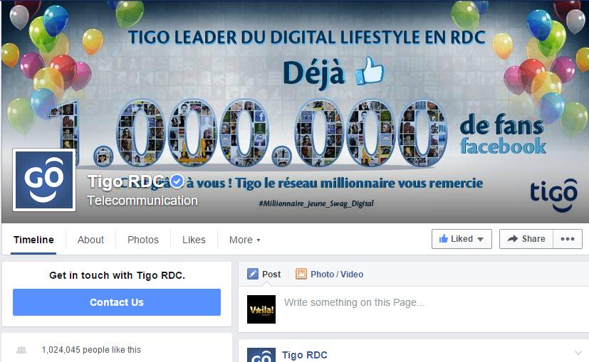 Tigo RDC facebook page
