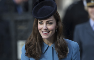 Britain's Catherine, Duchess of Cambridge leaves a reception after attending an event to mark the 75th anniversary of the RAF Air Cadets, in London
